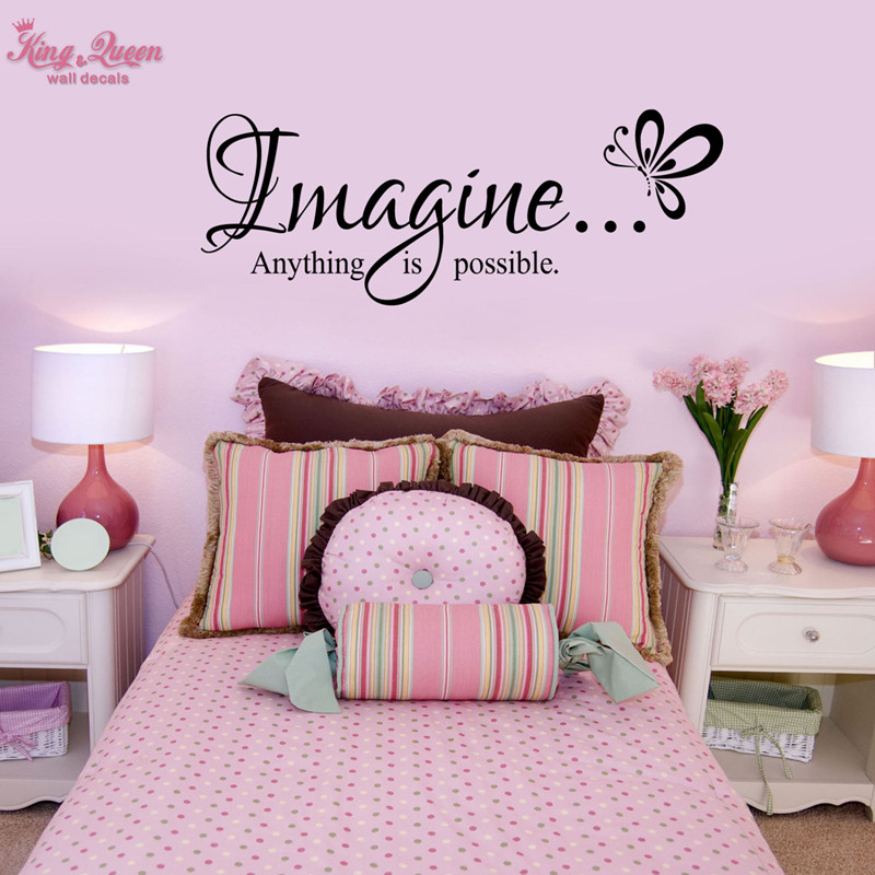 Childrens Butterfly Bedroom Accessories Quot Imagine Anything Is Possible Quot Quotes Decals