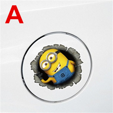 Fashion Cartoon Character Two Eyes Minions Car Fuel Tank Cover Sticker(China (Mainland))