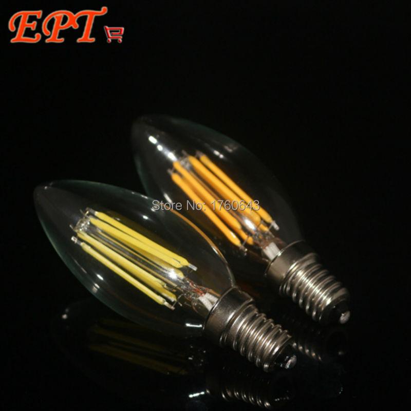 1Pc New Design 2W 4W 6W E14 AC220V E14 LED Filament Candle Bulbs 360 Degree Led Bulb Light Lamp Free Shipping(China (Mainland))