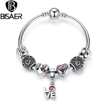 BISAER Romantic Love Kiss Pendant Charms Bangle & Bracelet with Heart Charm Fit Pandora Bracelet Jewelry A3078(China (Mainland))
