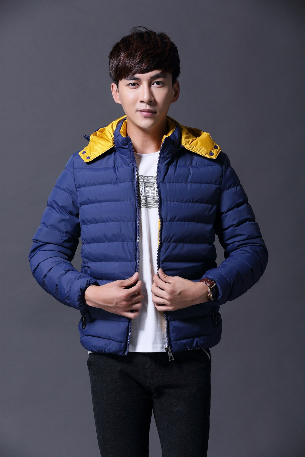 2015 New Fashion Plus Size Men's Jacket Winter Windbreaker Coat Slim Thick chaqueta de invierno de los hombres Casual Clothing(China (Mainland))