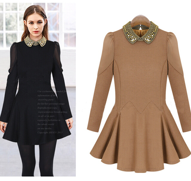 wholesale clothing European top fashion Long sleeve winter dress 2015 latest  slim fitted design beading cotton. Popular Latest Design Top Buy Cheap Latest Design Top lots from