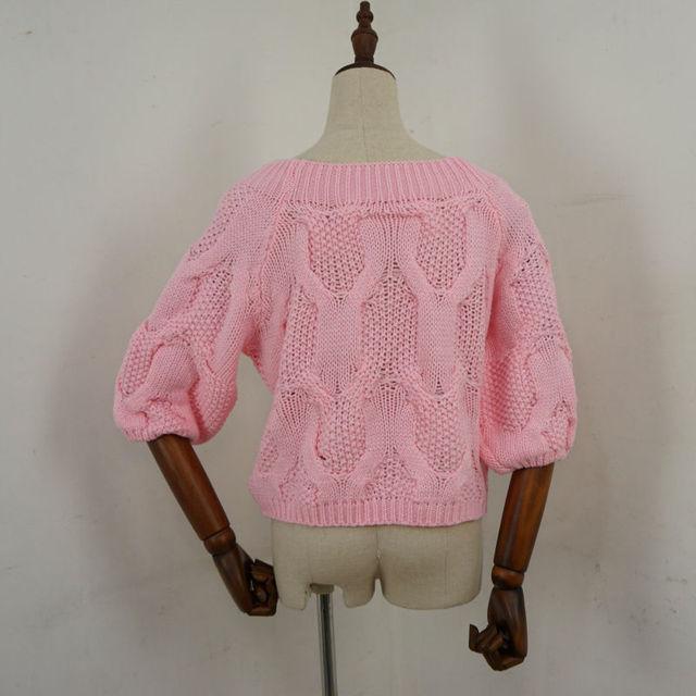 2016 весна лето женщин мода короткий свитер пуловер половина фонарь рукав цвет мяты