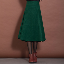 11 Colors Women Skirt High Waist Vintage Women's Cothing Winter Skirt Thick Solid Saia Longa Fashion A-Line Woolen Skirt C1252