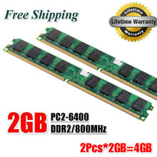 Brand New 4GB(2pcs*2GB) DDR2 2GB 800Mhz / PC2-6400U  For Desktop Ram Memory / Free Shipping!(China (Mainland))