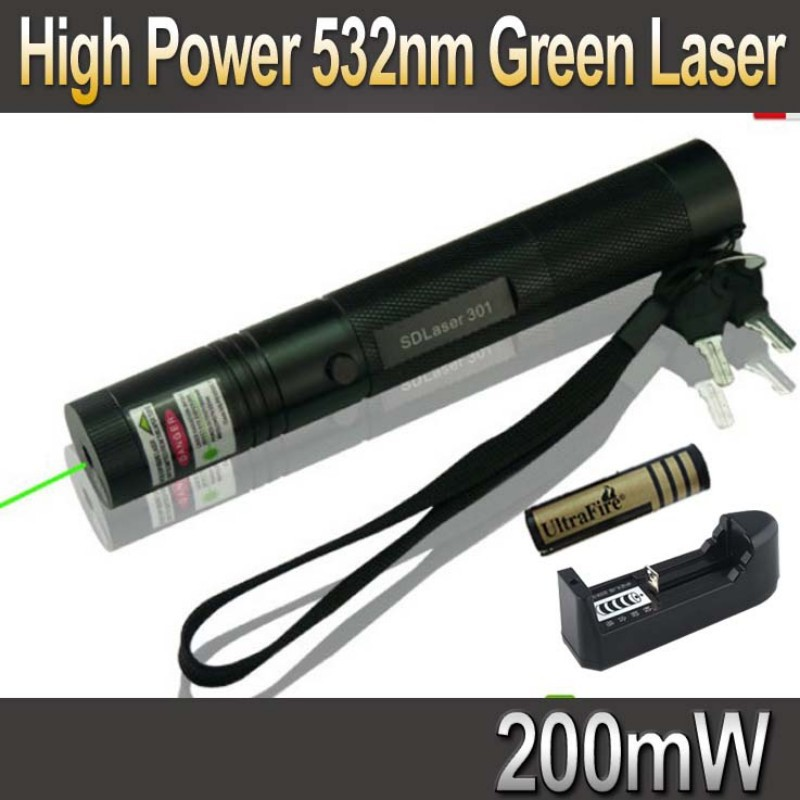 High Power 532nm 200mW Green Laser Pointer Pen zoomable Burning Matches Lazer Laser 301 + 18650 Battery 4000mah+ Charger(China (Mainland))