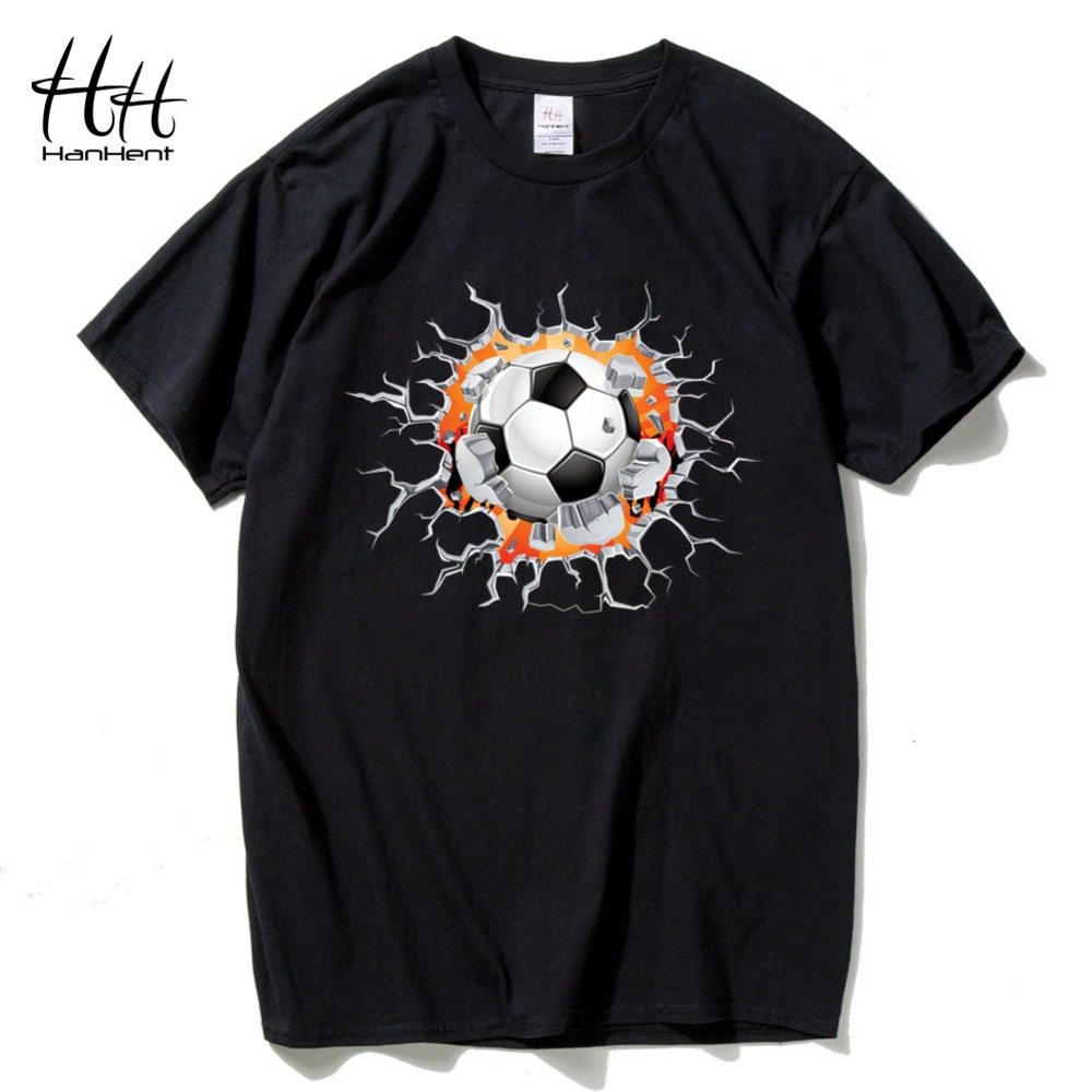 HanHent Creative Crack 3D T-shirt footballer Men Fashion Cotton Brazil Tshirts Funny Tops Tees Fitness Bodybuilding T shirts Man(China (Mainland))