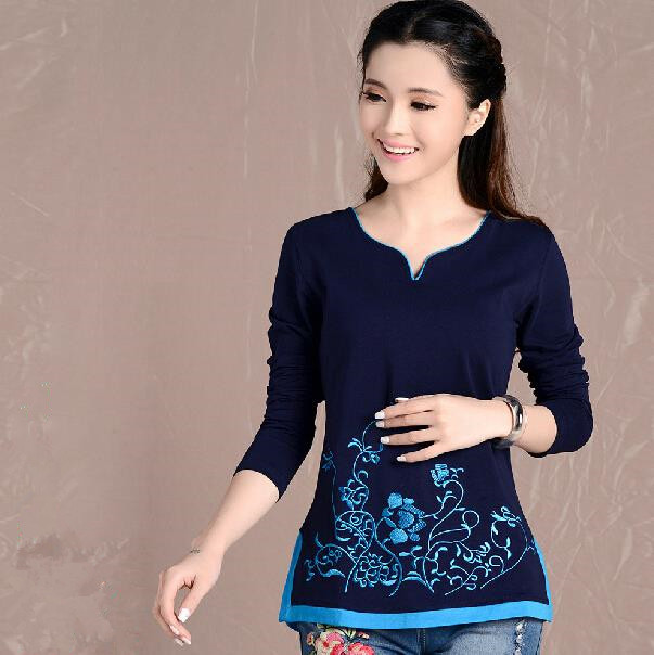 Navy Blue And White Long Sleeve Casual T Shirt 2016 Autumn Vintage Women Fashion New Embroidery Large Size Clothes TR029(China (Mainland))