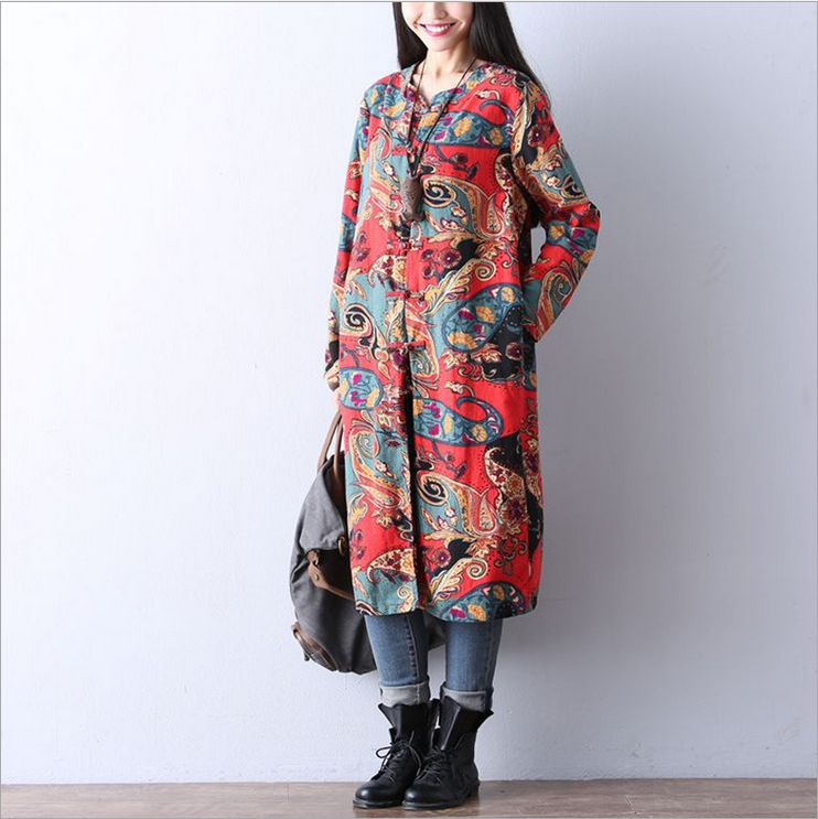 The new literary retro national wind printing loose cotton plate buttons long coat(China (Mainland))