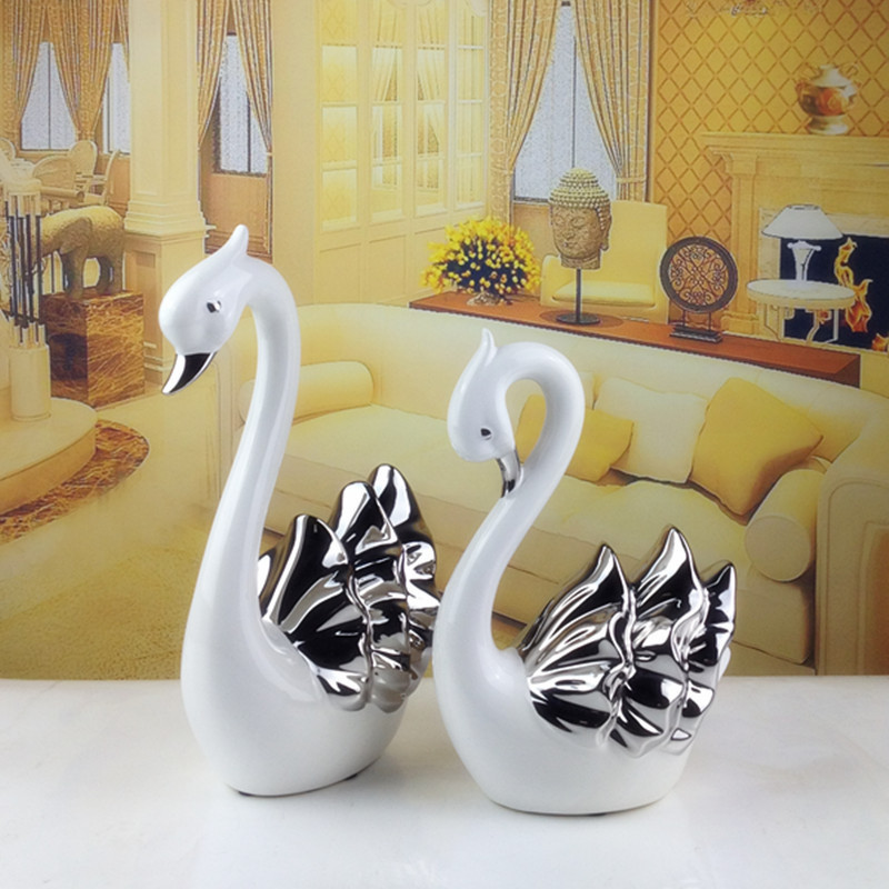 2015 home decoration creative home decor furnishings ceramic animal lovers swan silver plated gifts ceramic crafts