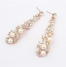 Fashion Brand New Design Elegant Crystal and Pearl Drop Long Earrings For Woman Gift Wholesale Jewelry