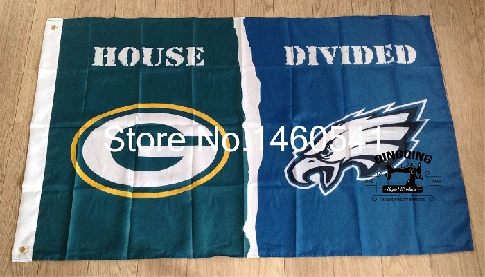 Green Bay Packers Philadelphia Eagles House Divided Flag 3ft x 5ft Polyester NFL Banner Size No.4 144*96cm QingQing Flag(China (Mainland))