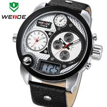 WEIDE Brand Big Dial Waterproof Men Quartz Leather Wrist Watch LCD Dual Time Display Multi function