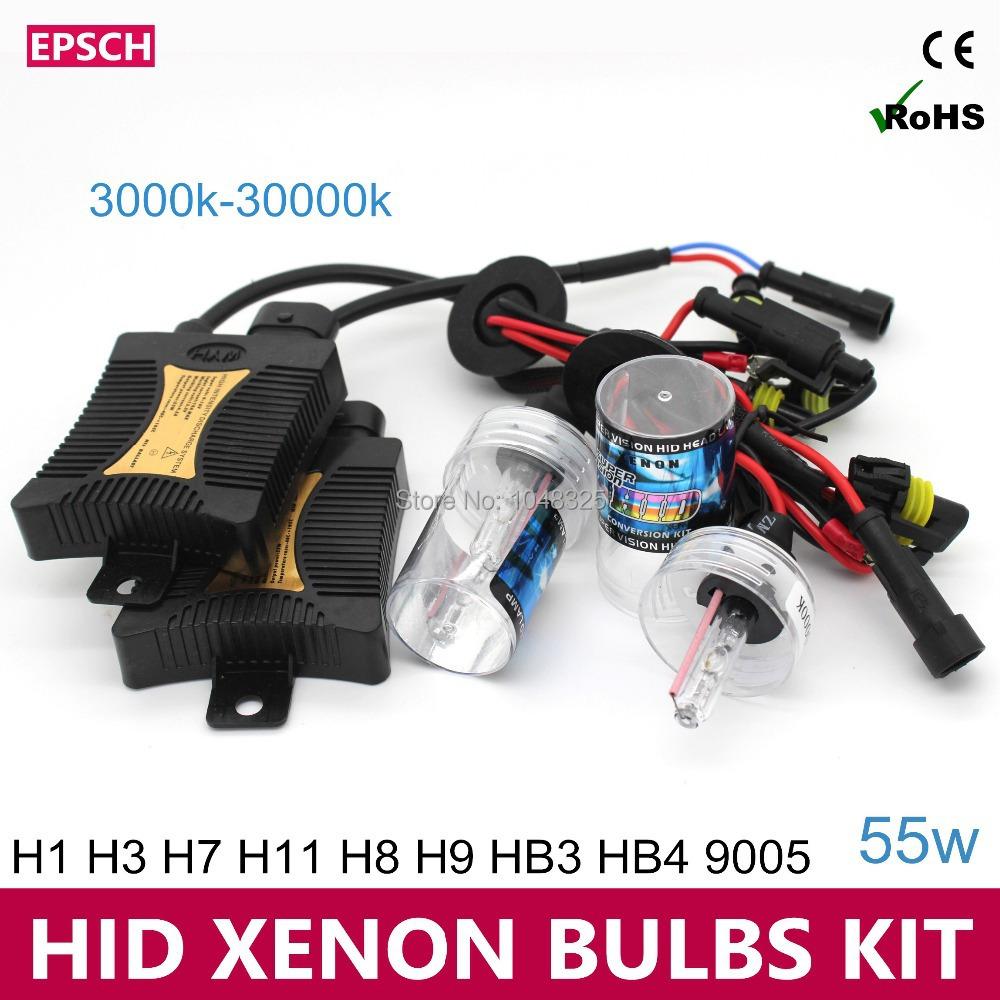 2014 55w AUTO KIT HID XENON BULBS Xenon vs Halogen D2S Car Lamps Headlights Fog Light 2pcs H1 H7 6000K(China (Mainland))