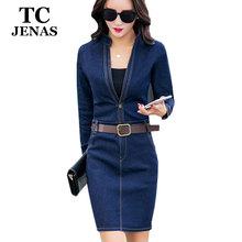 TC Women's Jeans Dress 2016 Spring Autumn Fashion Casual Blue Slim V Neck Belts Full Length A Line Pleated Denim Dress FT00244(China (Mainland))
