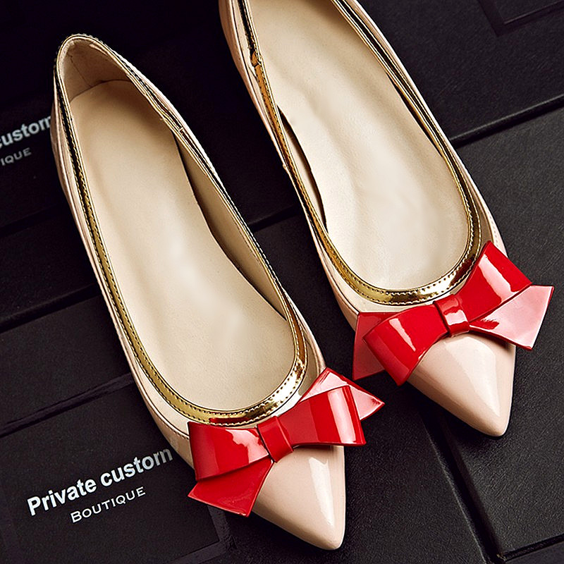 Genuine Leather Flat Shoes 2016 Fashion Sweet Bowtie Low Heels Korean Single Shoes Pointed Toe Flats Scarpe Donna <br><br>Aliexpress