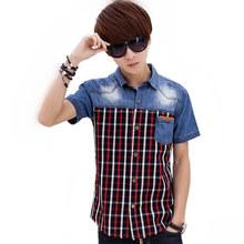 Brand clothing plaid camisa de los hombres de moda de verano de mezclilla azul jeans de manga corta para hombre slim fit camisas hombre camisa masculina clothing(China (Mainland))