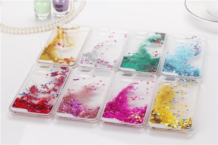 Colorful Dynamic Glitter Star Sand Hard Plastic Phones Case For Apple iPhone 6 4.7 inch Crystal Clear Back Cover Bag For iPhone6(China (Mainland))