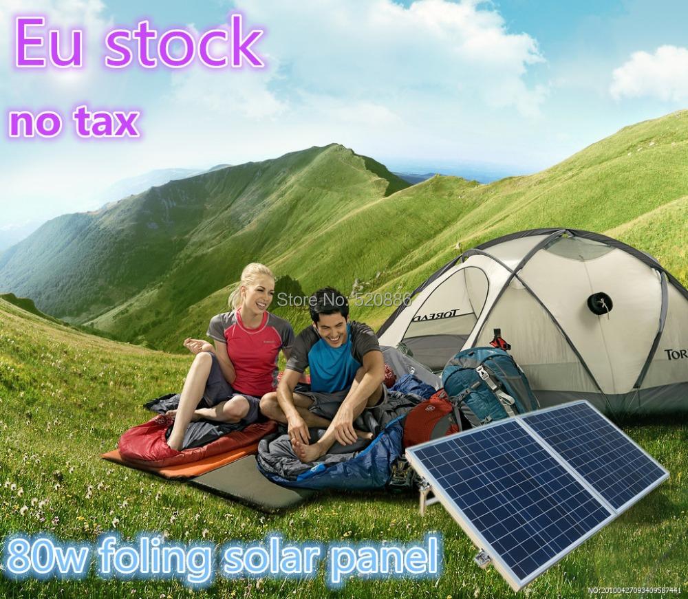 Eu stock, no tax, 80W 12V poly portable folding solar panel for 12v battery, RV,camping,boat(China (Mainland))