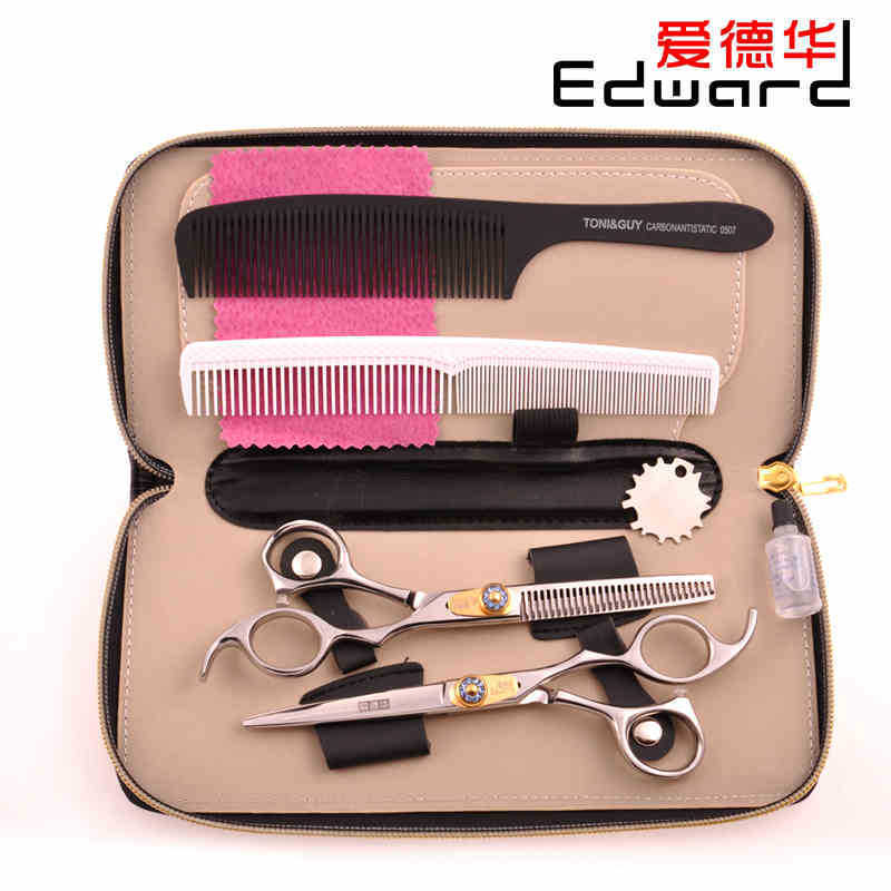 Free Shipping 6 Professional Hairdressing Scissors Barber Scissors Hair Scissor Salon Scissors Set Hair Styling Tools 440C<br>