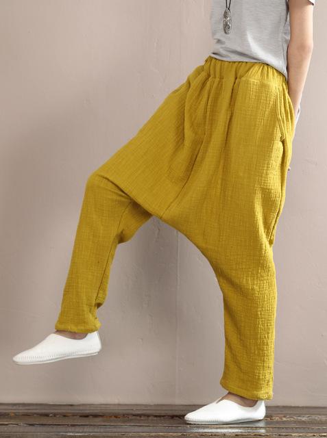 Новый 2016 весна осень чистого цвета хлопок белье эластичный пояс повседневные брюки ...