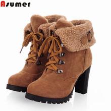 2016 nueva moda grueso tacones altos botas de nieve caliente lace up fur interior botines de las mujeres zapatos de plataforma mujer(China (Mainland))