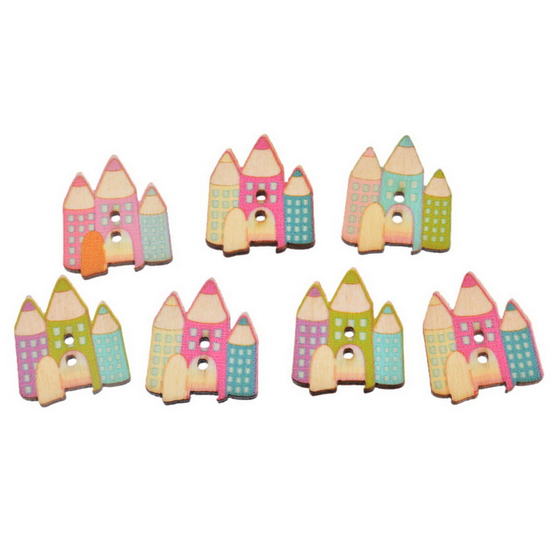 20PCs Wood Buttons 2 Holes Cartoon Pencil Rocket Sewing Scrapbooking DIY Crafts Decorative Buttons 2.9cmx2.5cm(China (Mainland))