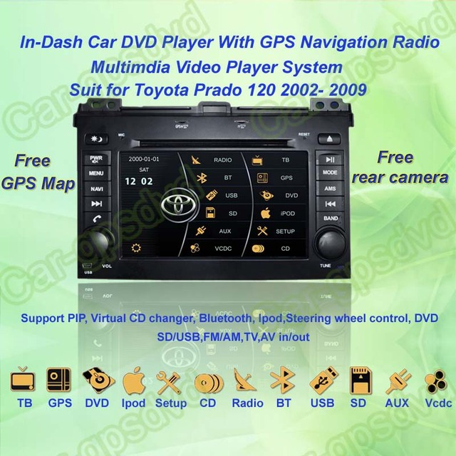 2002- 2009 Toyota Prado 120 GPS Navigation DVD Player ,TV,Multimedia Video Player system+Free GPS map+Free camera