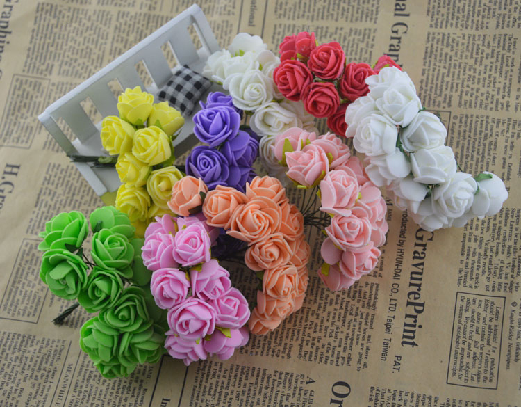12PCS Artificial Flower Rose Headwear Decor Foam Rugosa Hep Aethiopica Colorful Hair Accessories Decoration For Wedding Party(China (Mainland))