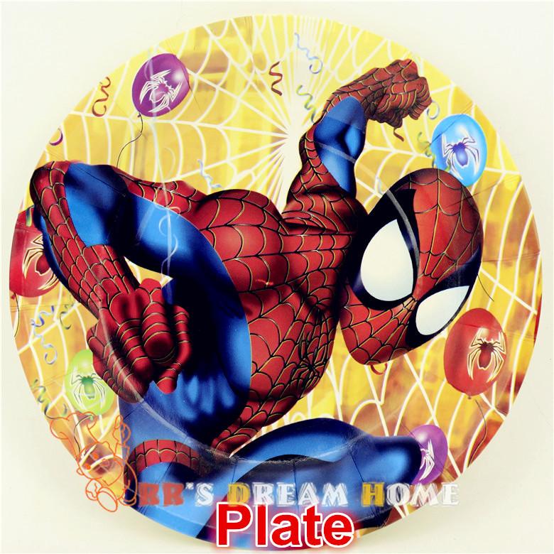 kid boy girl baby birthday party decoration Spider-man Theme kits supplies favors Cake Dish paper plate(7'') 12pcs/lot #CK-506(China (Mainland))