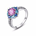 Unique Design Silver Austrian Crystal Flower Ring AAA Cubic Zirconia Pink Yellow Stone High Quality Fashion