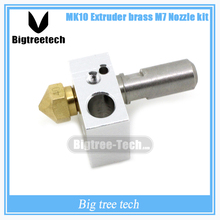 5PCS MK10 Extruder brass M7 Nozzle kit MAKERBOT2-generation M7 Brass nozzle and PTFE throat and MK8 Block 3D printer accessories