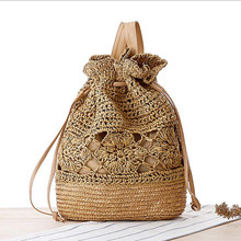 2016 Preppy Style Small Straw Knitted Backpack Leisure Drew-string Crochet Backpack Lady Beach Bag(China (Mainland))