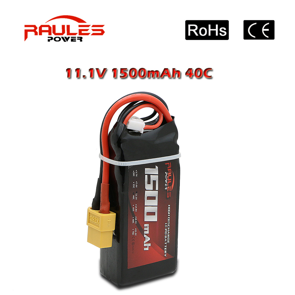 Free Shipping 3S Lithium Polymer Lipo Battery 11.1V 1500mAh 40C XT60 For RC Helicopter Car Truck Hobby Drone Bateria(China (Mainland))