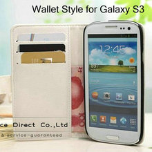 Book Style Leather Case for Samsung Galaxy S3 i9300 PU Stand Design + 3 credit card slot+ 1 bill site Black White(China (Mainland))