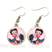 1pc Sexy Betty Boop Earrings Red Cartoon Picture Art Pendant Glass Dome Earrings For Women Collier Femme 2018(China)