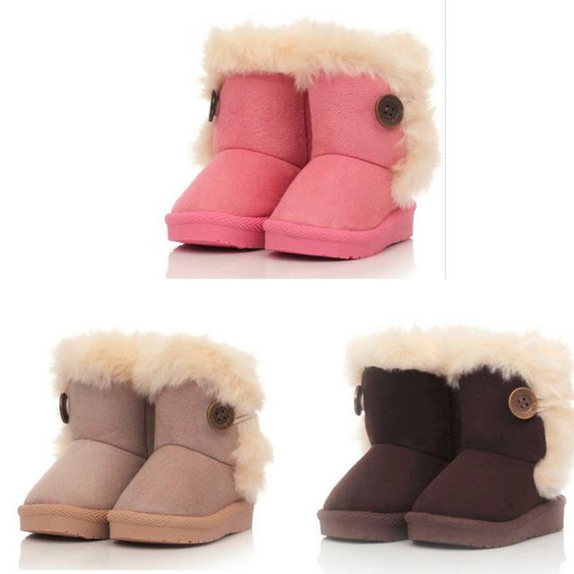 100% Brand New Дети Без Скольжения Мех Зимние Девушки Мальчик Дети Утолщаются Теплые Ботинки Снега Сапоги