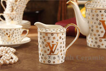 Porcelain tea set bone china coffee set letter design 15 pieces European tea set coffee pot