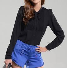 Chiffon Blouse Women Casual Shirt Black Color Ruffle Collar Tops 2015 New Fashion,Discount(China (Mainland))