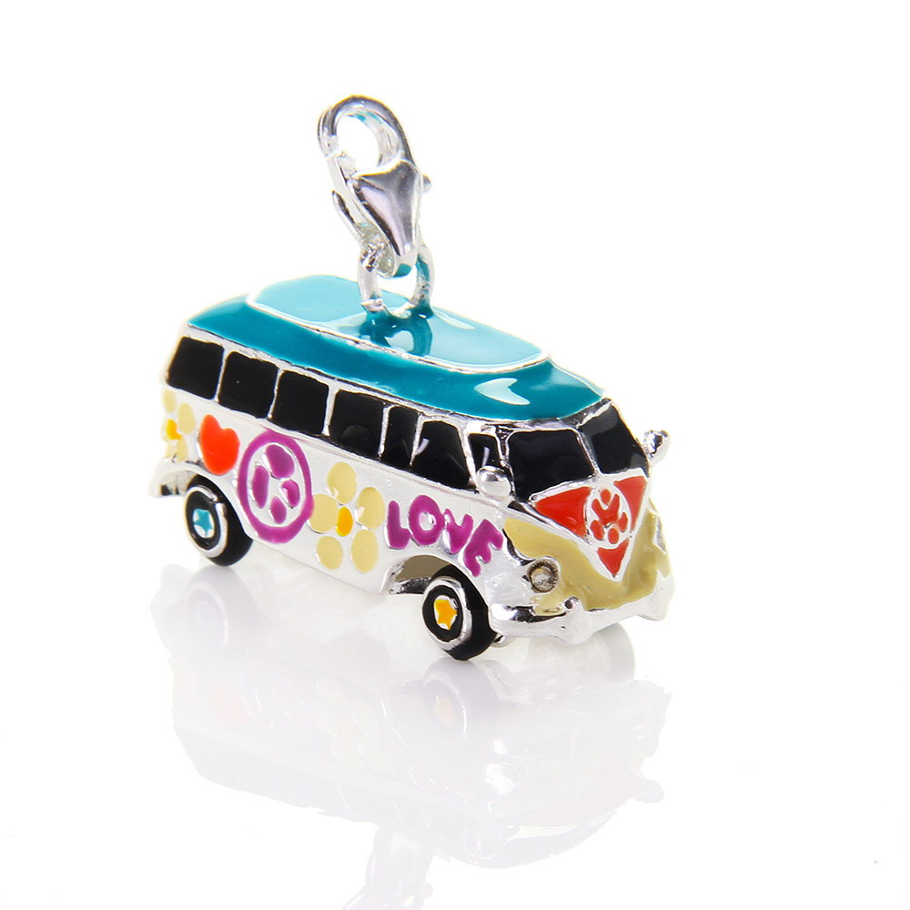 Thomas Big Hippie Love Colorful Bus Camper Van Charms Fit Necklace, European Jewelry Gift for Women and Men Wholesale TS C235(China (Mainland))