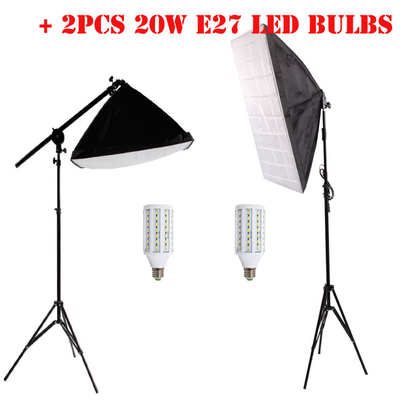 2PCS LED Bulb+ Softbox +Top Light Stand+ Tripod Stand For Photo Photography Lights Kit Softbox Reflective Material(China (Mainland))