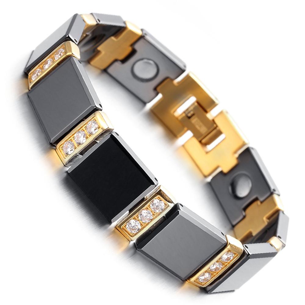 Mens Tungsten Bracelet, Black &amp; Gold, 8kb1533<br><br>Aliexpress