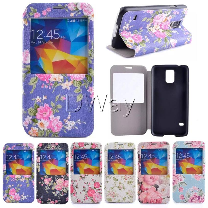 Flower PU Leather Window View Book Flip Cover Case Samsung Galaxy S5 i9600 Stand Phone + Screen Protector - Wing Duan's store