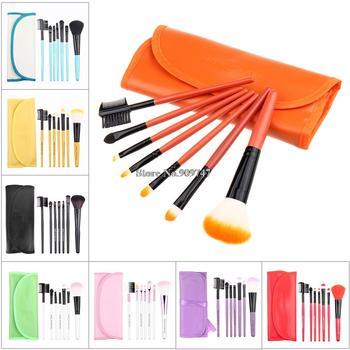 Профессиональный Красный 7 шт. щетку инструменты составляют косметические кисти бесплатная ...