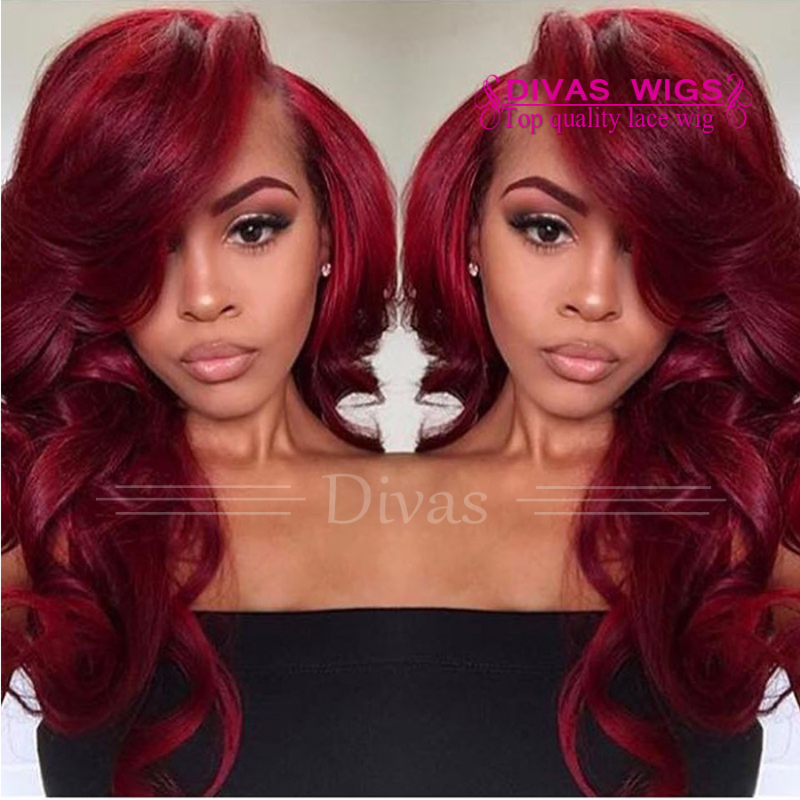 Burgundy synthetic body wavy Wig Red Hair Wig high temperature fiber lace front Body Wave side bangs Gluless Lace Front Wigs<br><br>Aliexpress