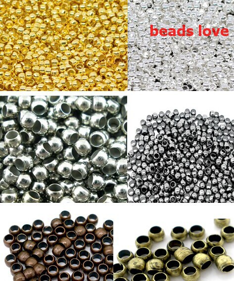 (2000Pcs/lot )2mm Dia Pick 6 Colors Jewelry Findings Smooth Ball Crimps Beads (w02934)Free Shipping!(China (Mainland))