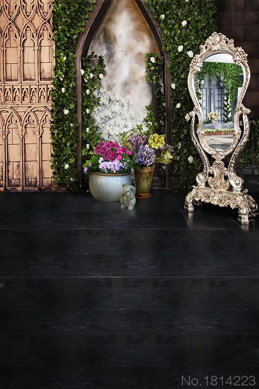3x5FT Flowers Pots Frame Mirror Fitting Room Green Leaves Wall Custom Photography Background Studio Backdrop 1x1.5m(China (Mainland))