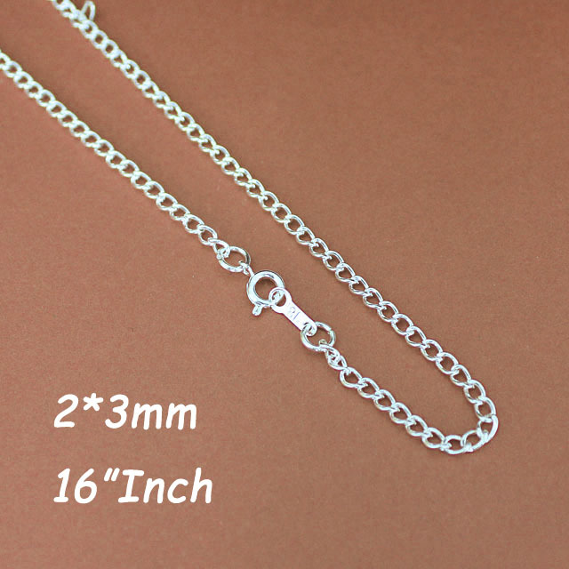 16 Silver Plated 2MM Curb Chains Necklace With Ring Clasps Link Connectors Jewelry  DIY Findings Accessories 120pcs<br><br>Aliexpress