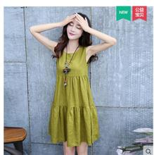 Summer Style 2016 Fashion Women Sexy Solid Cotton and Linen Dresses Sleeveless Casual Loose Party Mini Dress Vestidos Plus M-XXL(China (Mainland))