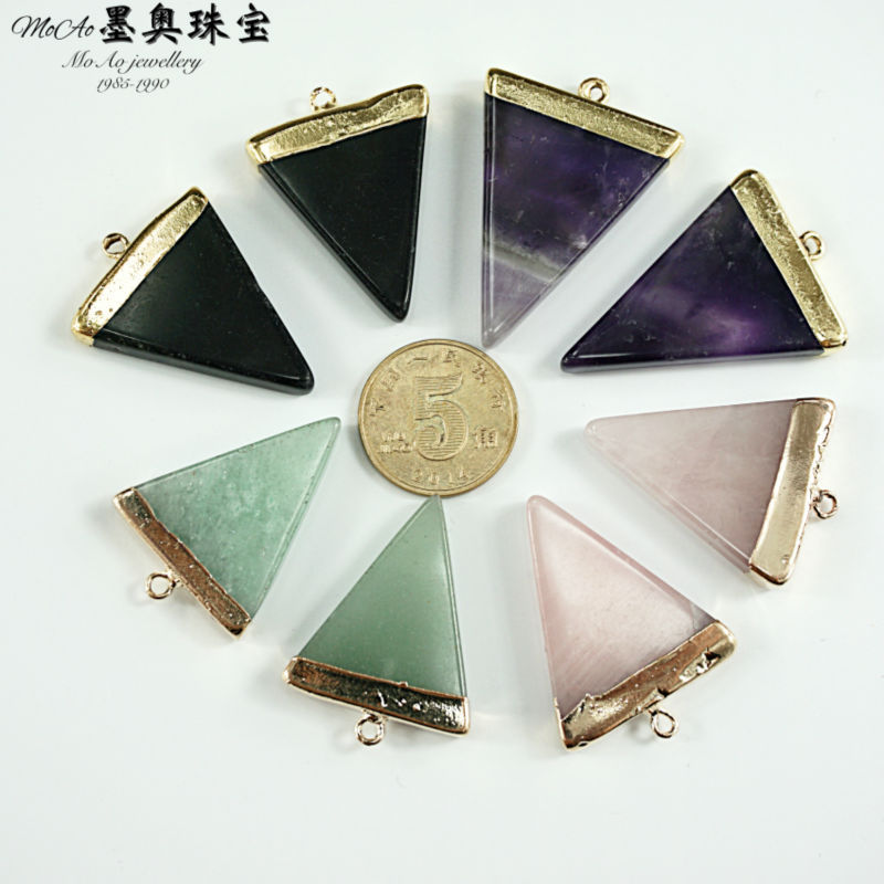 MoAo Fashion Jewelry Natural Stone Pendant Rose Quartz Triangle Point Gold plated Pendant(China (Mainland))